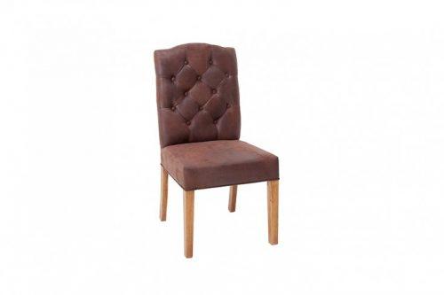 Eleganckie krzesło CASTLE brązowe z pikowaniem Chesterfield