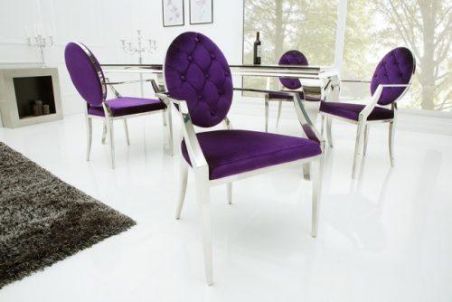 Ekskluzywne krzesło MODERN BAROCK aksamitne fiolet