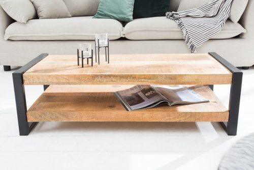 Masywny stolik kawowy IRON CRAFT 100cm ława drewno RETRO