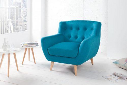 Fotel retro SCANDINAVIA MASTER PIECE - w kolorze turkusowym