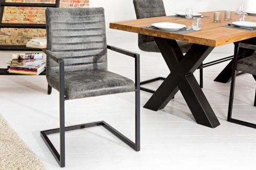 Krzesło IMPERIAL z podłokietnikiem w kolorze szarym