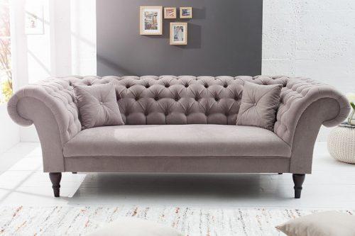 Sofa Chesterfield CONTESSA Miękka bawełna beżowa z 2 poduszkami