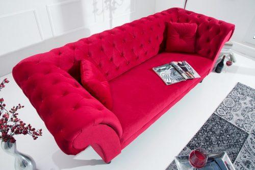 Sofa CONTESSA Chesterfield aksamit czerwień