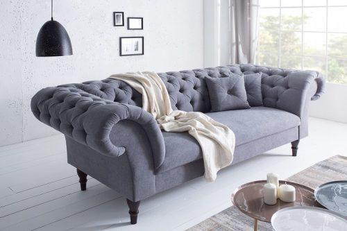 Sofa Chesterfield CONTESSA szara, miękka bawełna z 2 poduszkami
