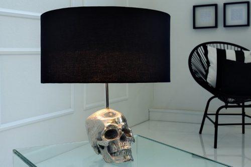 Ekstrawagancka lampa stołowa SKULL 44cm czarna czaszka
