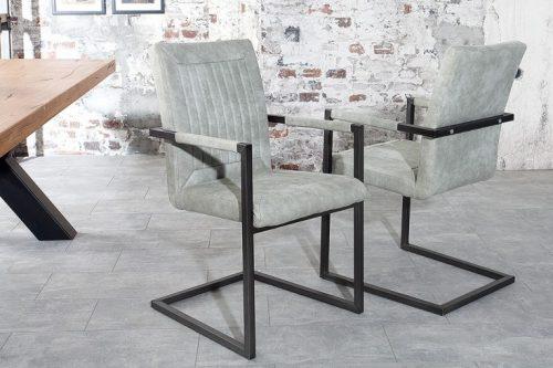 Krzesło BRISTOL w kolorze szarym płozy z podłokietnikiem