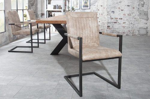 Zaprojektuj krzesło wspornikowe BRISTOL beżowe z podłokietnikiem