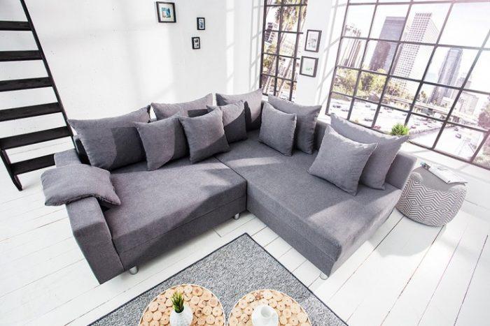Sofa narożna design LOFT szara wykonana z miękkiej tkaniny