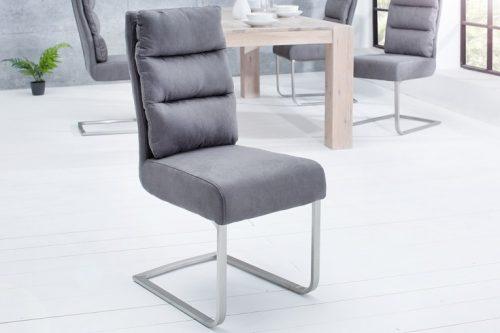 Ekskluzywne krzesło n COMFORT szare na płozach ze stali szczotkowanej