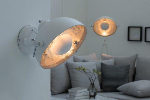 Nowoczesna lampa ścienna STUDIO biała lampa z efektem srebrnego liścia