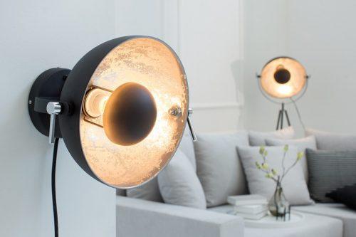Nowoczesna lampa ścienna STUDIO czarna lampa z efektem srebrnego liścia
