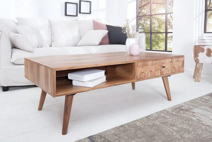 Stolik kawowy MYSTIC 117cm akacja lite drewno