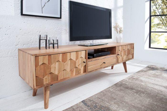 Nowoczesna architektura Komoda szafka RTV Mystic 140 cm lite drewno akacja 3D | Fabryka Design ZD88