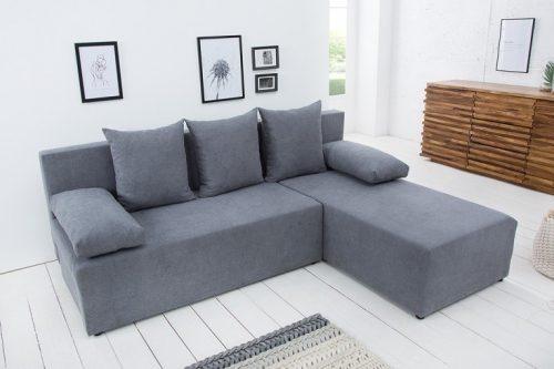 Designowa narożna sofa CUBUS Miękka szara bawełna z funkcją spania i pojemnikiem na pościel