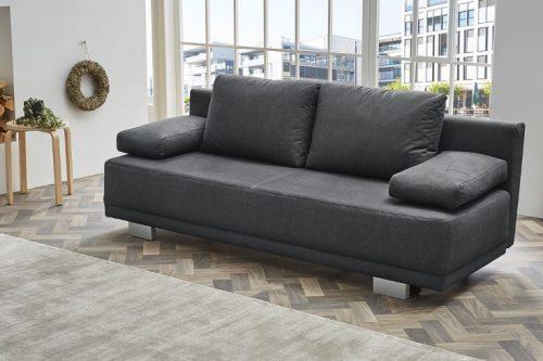 Nowoczesna rozkładana sofa OXFORD 196cm szara z poduszką na łóżko