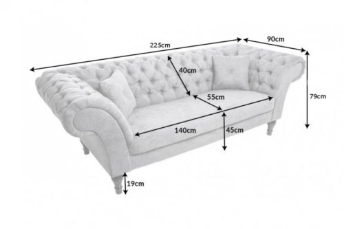 Sofa Chesterfield PARIS 225cm szara