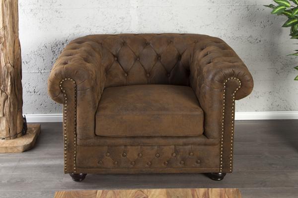 Klasyczny Fotel  Chesterfield w kolorze antycznego brązu