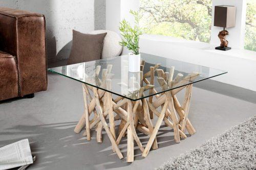 Nowczesny duży stolik na drewnianych nogach Driftwood 80cm