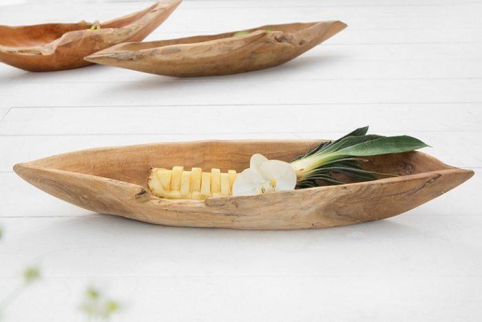 Drewniana misa w kształcie łódki z drewna tekowego