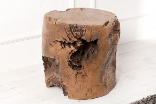 Naturalny Taboret VOODOO 30cm z drewna tekowego