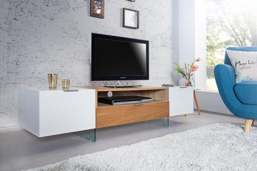 Komoda pod TV ONYX , biała w wysokim połysku 160 cm