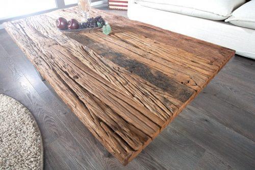 Masywny stolik kawowy BARRACUDA 110cm z drewna tekowego
