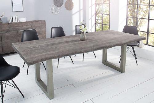 Masywny stół MAMMUT 200cm z szarego litego drewna akacjowego