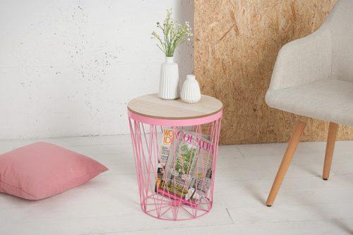 Stolik kawowy STORAGE II różowy ze schowkiem