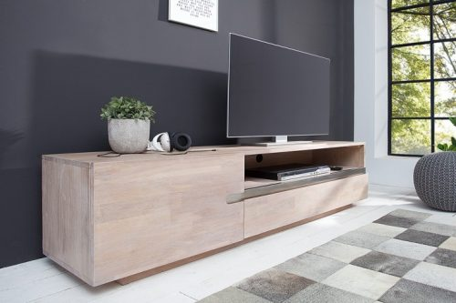 Masywna szafka telewizyjna WOTAN 170cm z litego wapnowanego drewna dębowego