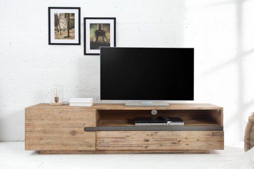 Masywna szafka telewizyjna WOTAN 170cm z wapnowanego  drewna akacjowego