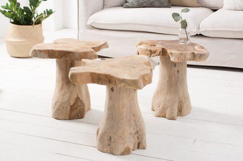 Masywny stolik ROOT 40cm z drewna tekowego