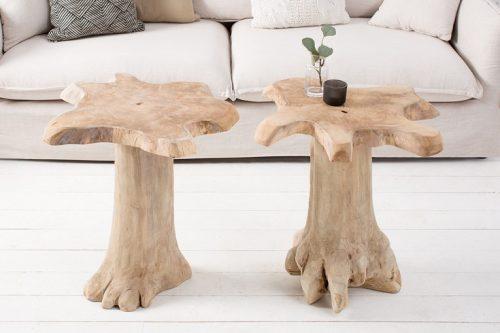Masywny stolik ROOT 60cm  z drewna tekowego