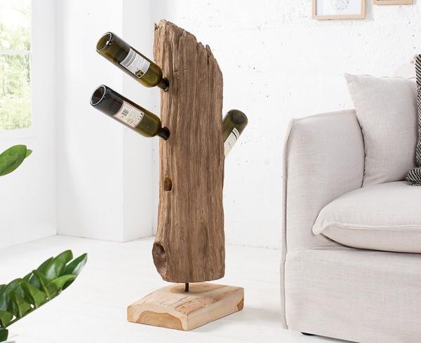 Oryginał masywny stojak na wino BARRACUDA z drewna tekowego | Fabryka Design NX14