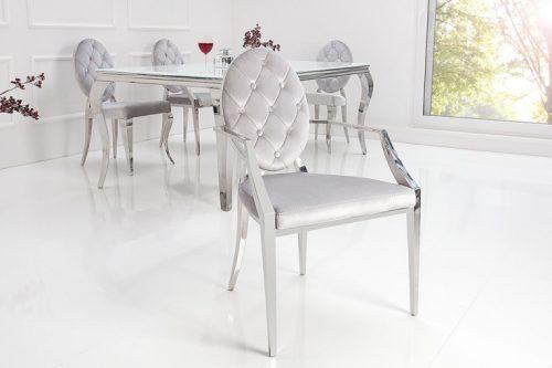 luksusowe krzesło MODERN BAROCK w stylu barokowym srebrne