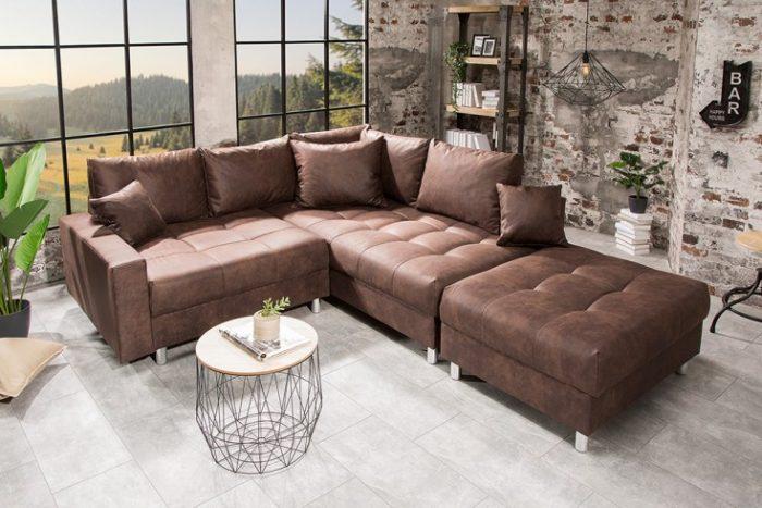 Nowoczesna sofa narożna   KENT 220cm w kolorze brązowym