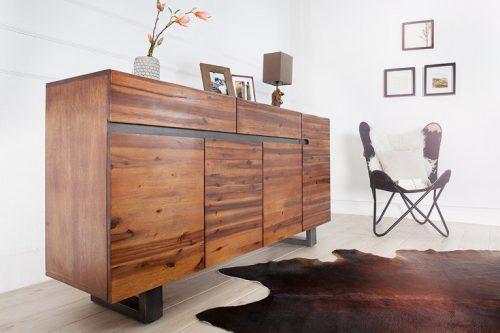 Masywny kredens komoda GENESIS 170cm Lite drewno akacji
