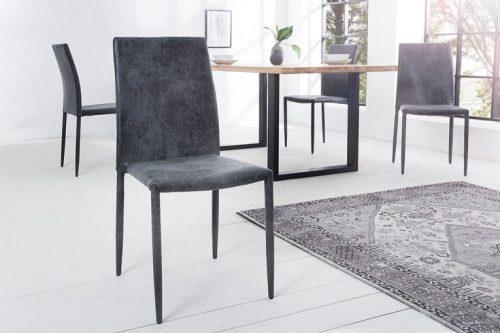 Ekskluzywne krzesło tapicerowane Milano ciemny szary