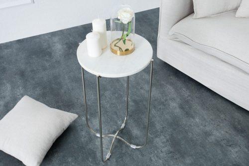 Stolik NOBLE z białego marmuru