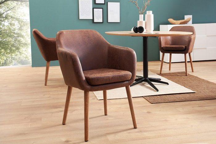 Krzesło SUPREME vintage brown lite drewno