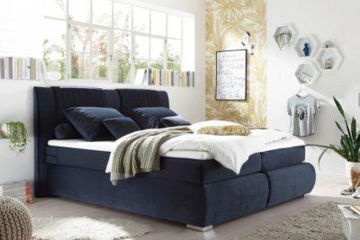 Nowoczesne łóżko COZY  180x200 ciemny niebieski aksamit