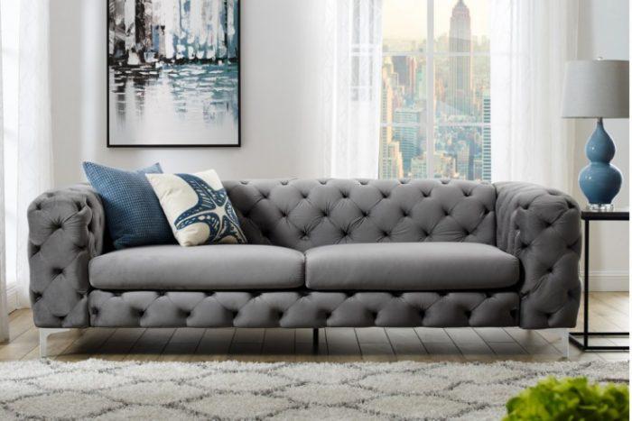 Sofa Modern Barock 240 cm szara aksamit