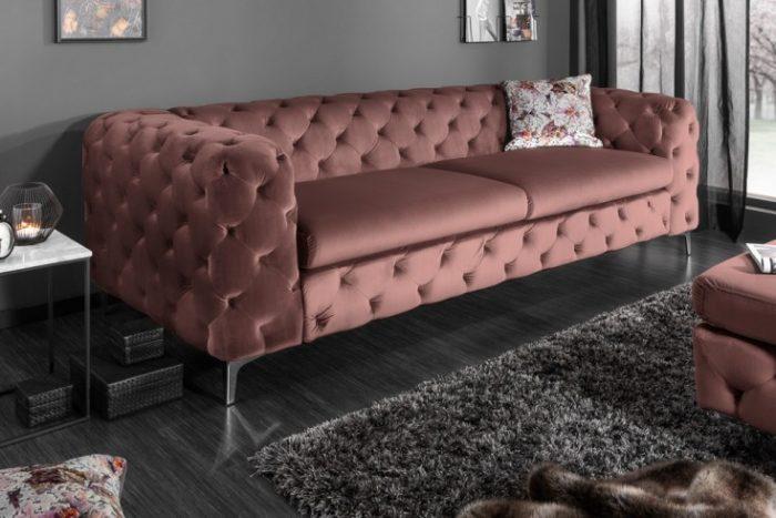 Sofa Modern Barock aksamitna 3-osobowa różowa