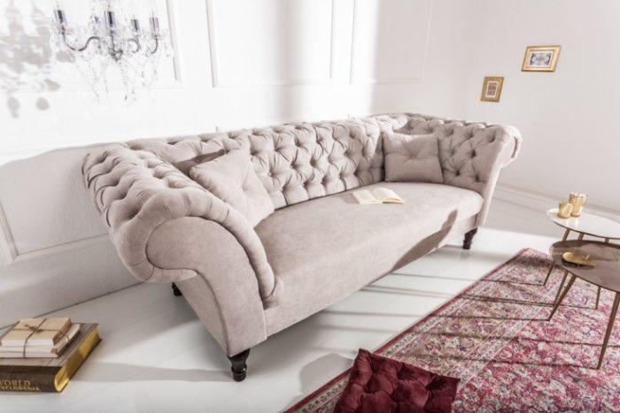 Sofa Chesterfield PARIS 225cm szara
