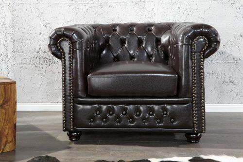 Fotel Chesterfield 110 cm ciemnobrązowy z podłokietnikami