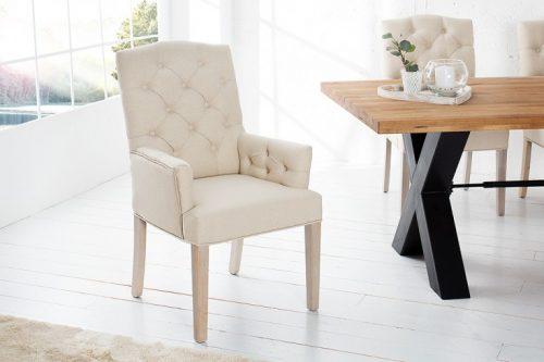 Eleganckie krzesło z podłokietnikami CASTLE beżowe  z serii Chesterfield
