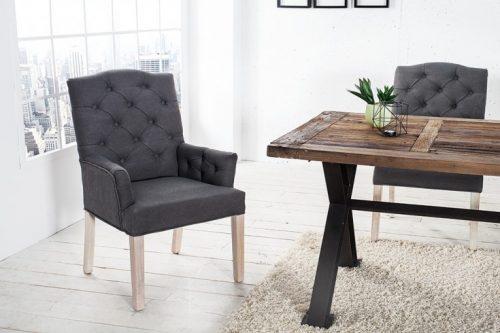 Eleganckie krzesło z podłokietnikami CASTLE szare z serii Chesterfield