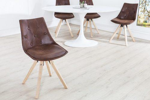 Ekskluzywne krzesło brązowe z pikowaniem Chesterfield