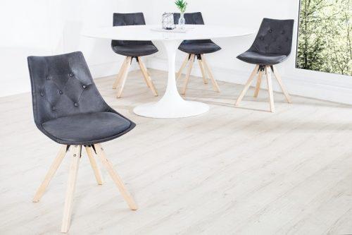 Ekskluzywne krzesło szare z pikowaniem Chesterfield