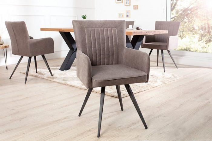 Krzesło tapicerowane ROADSTER antyczny szare retro