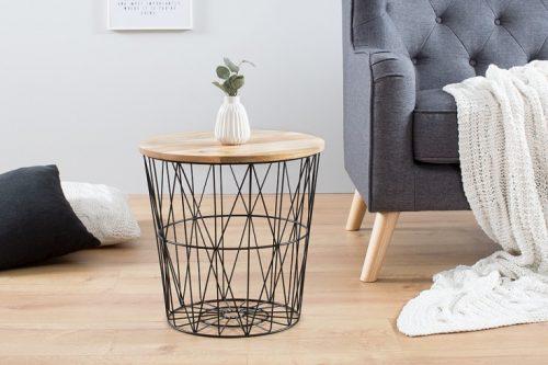 Skandynawski stolik kawowy STORAGE 42cm czarny